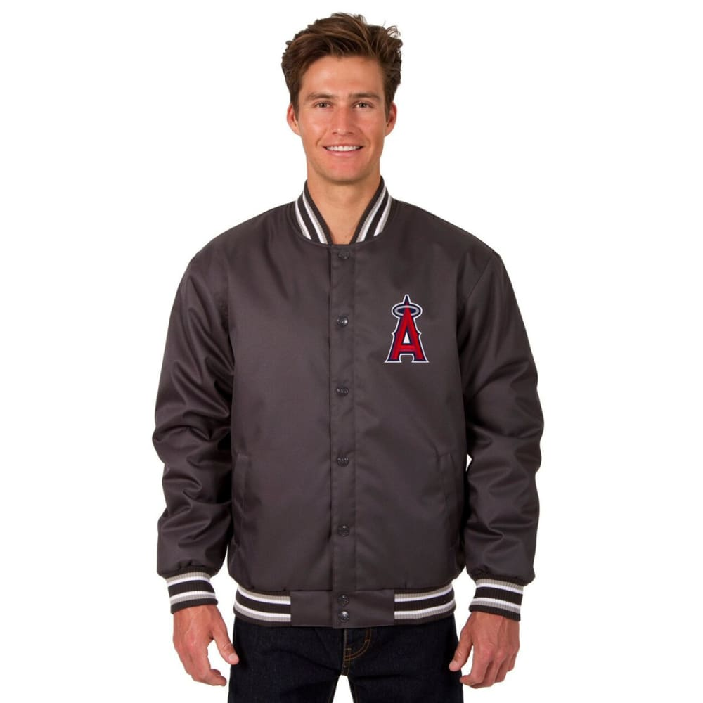 LOS ANGELES ANGELS Men's Poly Twill Embroidered Jacket - CHARCOAL