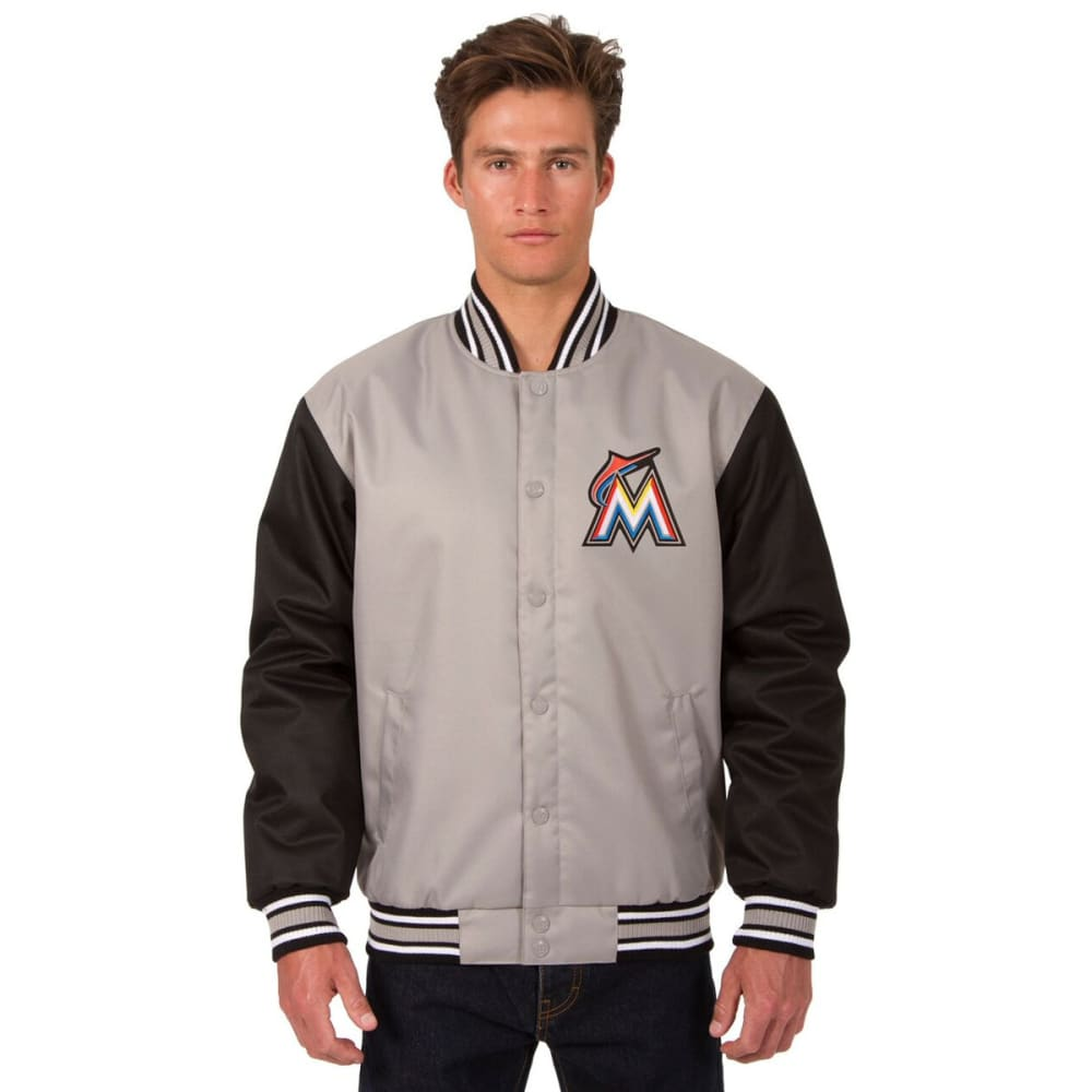 MIAMI MARLINS Men's Poly Twill Embroidered Jacket - GRAY-BLACK