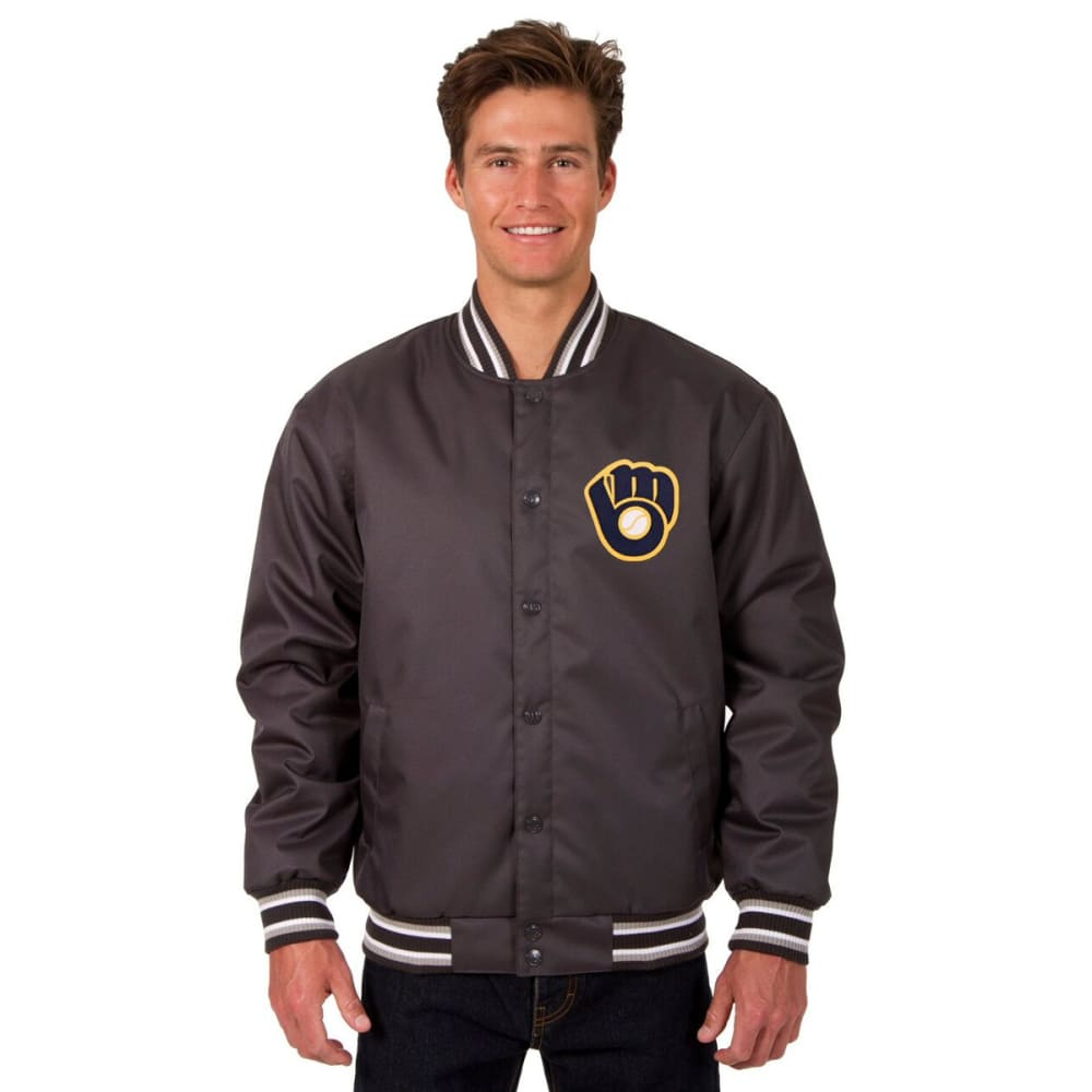 MILWAUKEE BREWERS Men's Poly Twill Embroidered Jacket - CHARCOAL