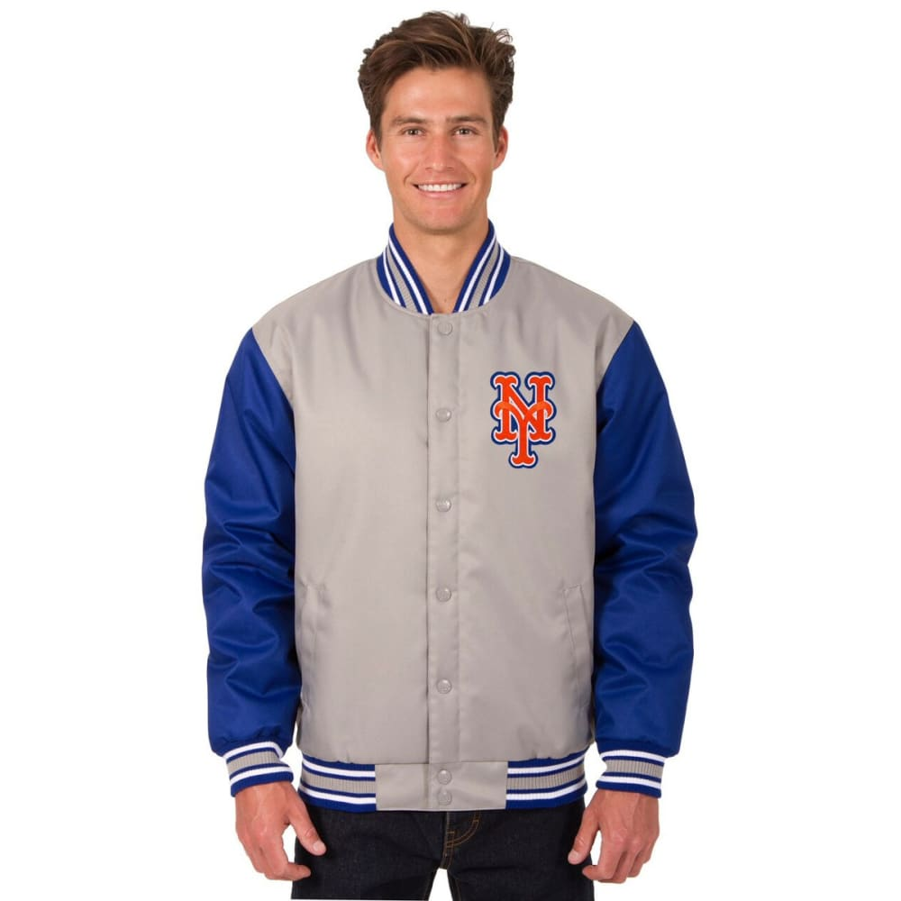 NEW YORK METS Men's Poly Twill Embroidered Jacket - GRAY-ROYAL