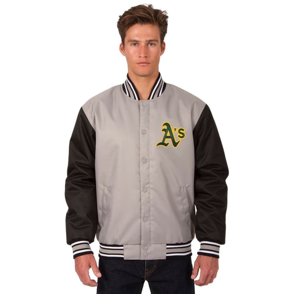 OAKLAND ATHLETICS Men's Poly Twill Embroidered Jacket - GRAY-BLACK