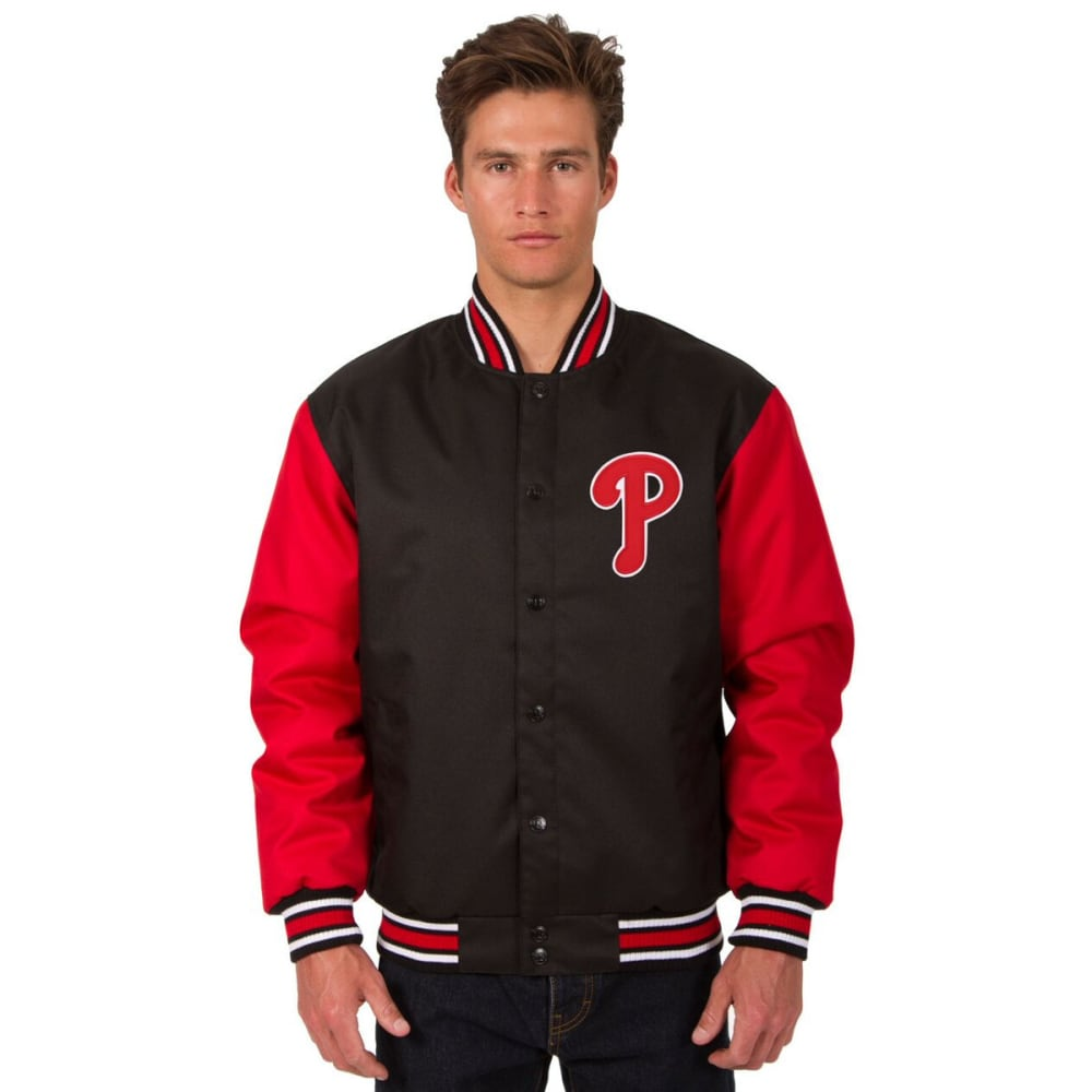 PHILADELPHIA PHILLIES Men's Poly Twill Embroidered Jacket - BLACK-RED