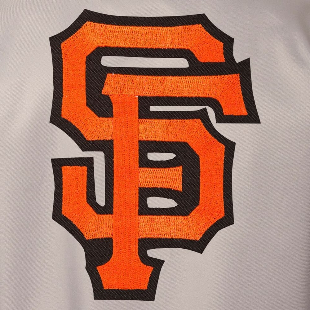 SAN FRANCISCO GIANTS Men's Poly Twill Embroidered Jacket - GRAY-BLACK