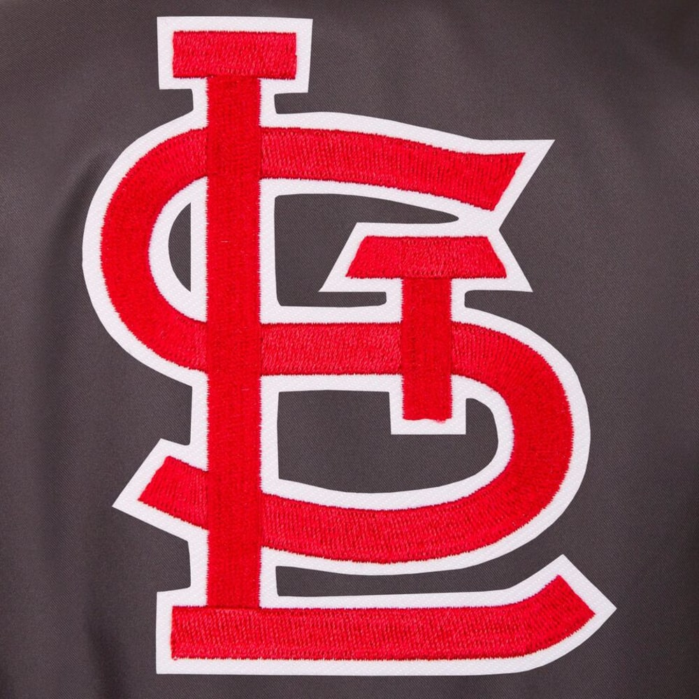 ST. LOUIS CARDINALS Men's Poly Twill Embroidered Jacket - CHARCOAL