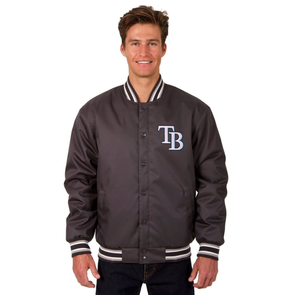 TAMPA BAY RAYS Men's Poly Twill Embroidered Jacket - CHARCOAL