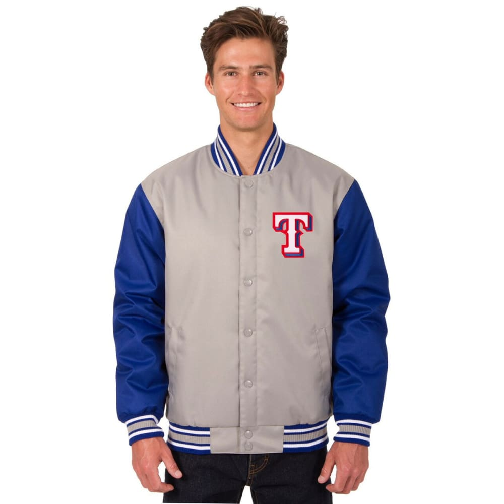TEXAS RANGERS Men's Poly Twill Embroidered Jacket - GRAY-ROYAL