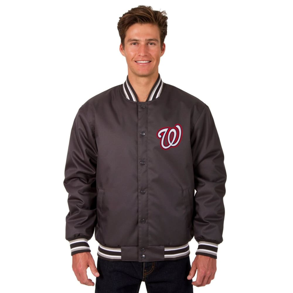 WASHINGTON NATIONALS Men's Poly Twill Embroidered Jacket - CHARCOAL
