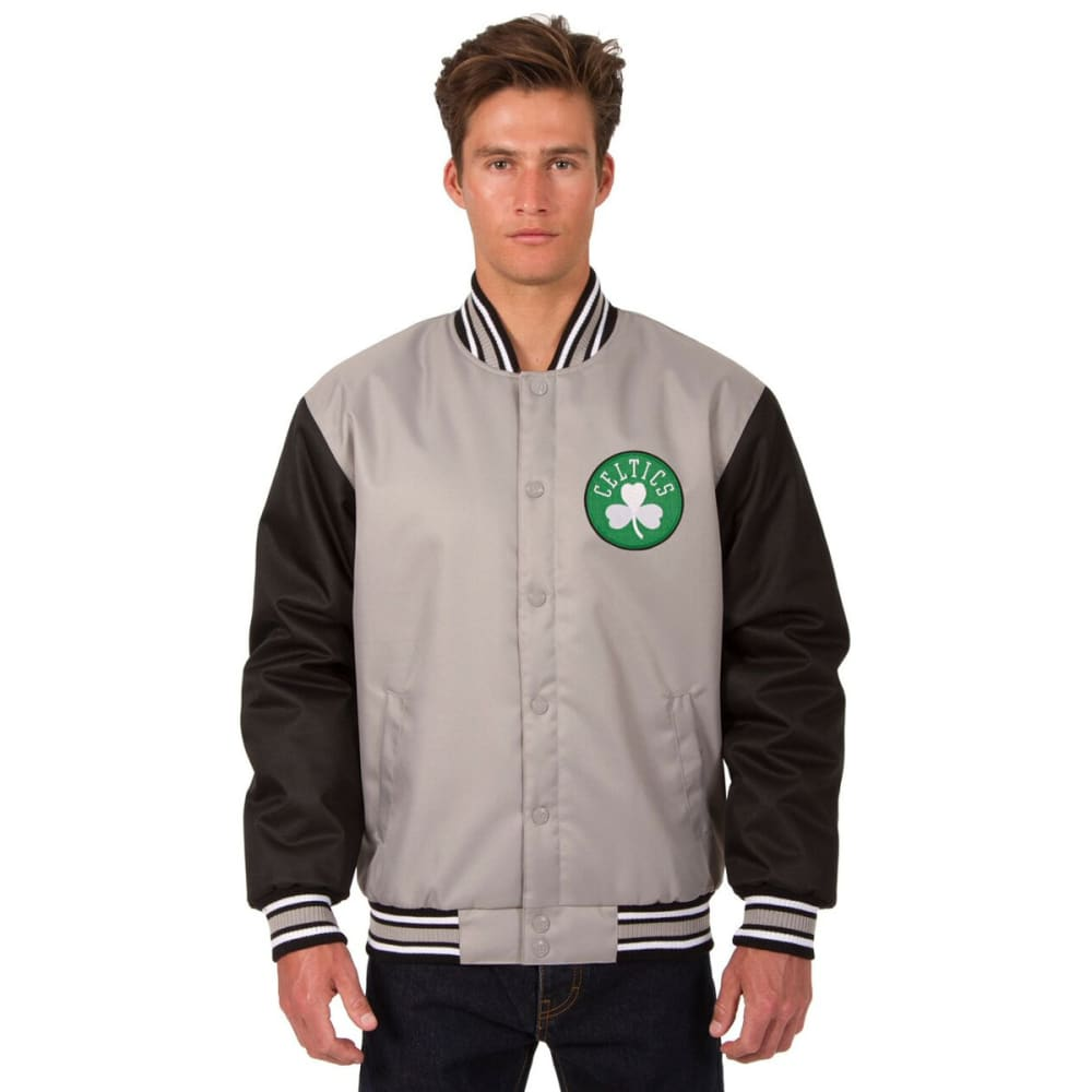 BOSTON CELTICS Men's Poly Twill Embroidered Jacket - GRAY-BLACK