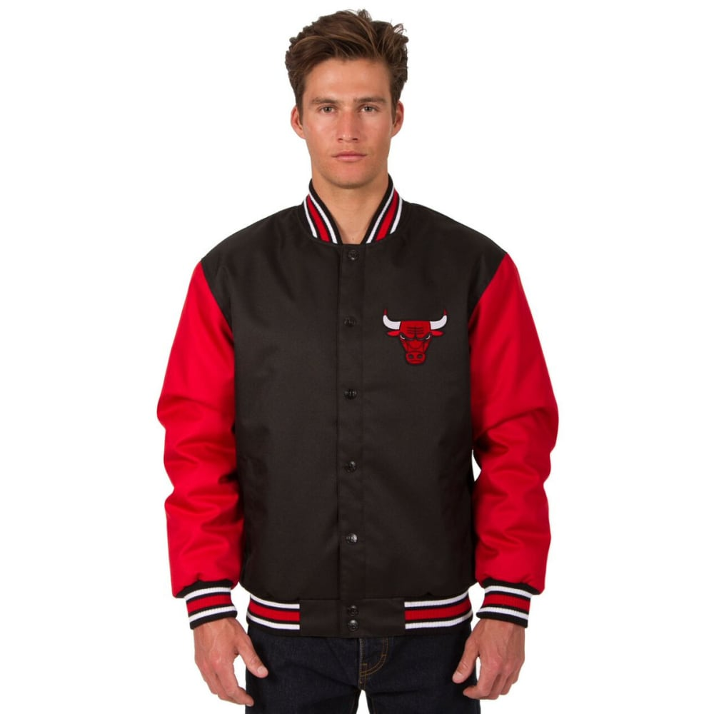 CHICAGO BULLS Men's Poly Twill Embroidered Jacket - BLACK-RED