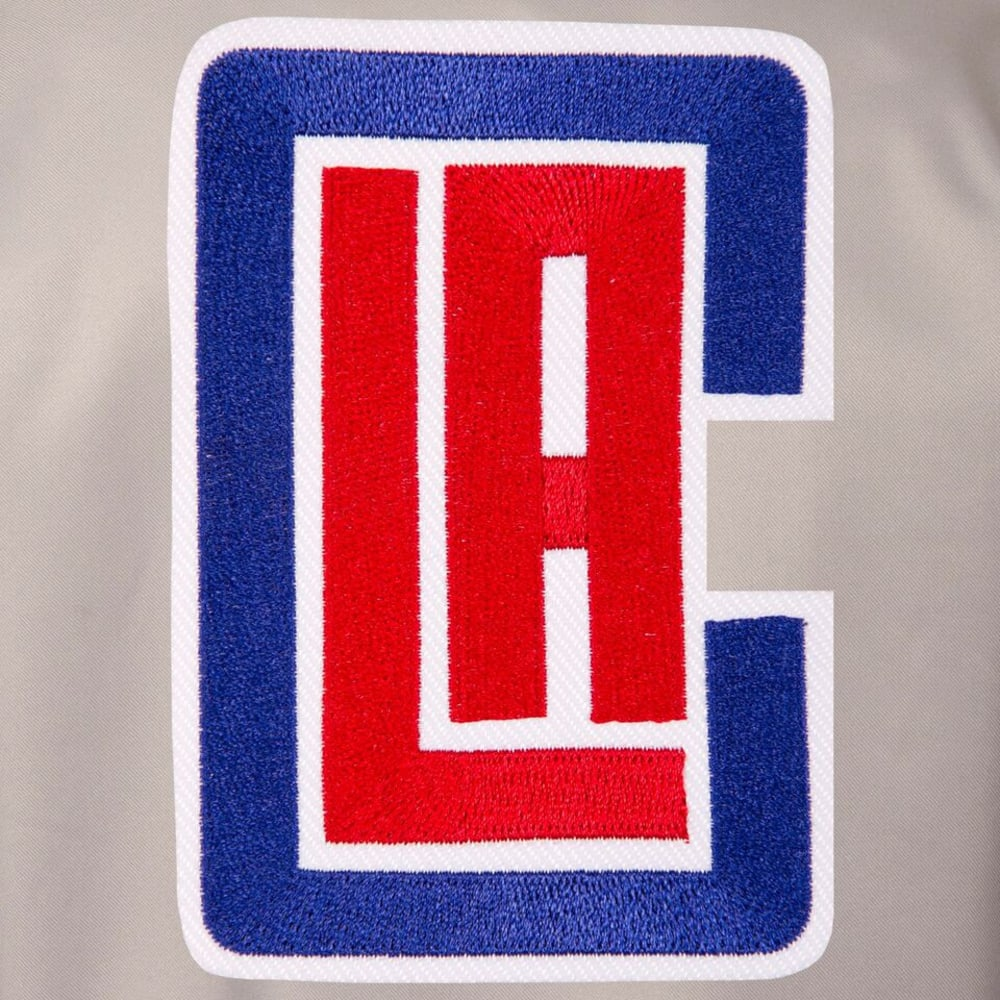 LOS ANGELES CLIPPERS Men's Poly Twill Embroidered Jacket - GRAY-BROYAL