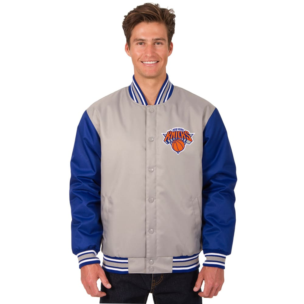 NEW YORK KNICKS Men's Poly Twill Embroidered Jacket - GRAY-ROYAL