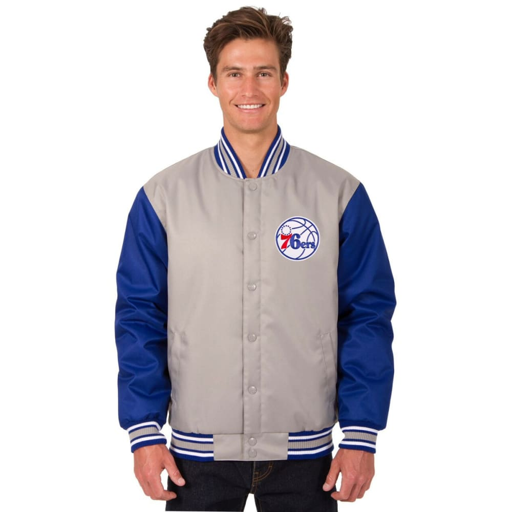 PHILADELPHIA 76ERS Men's Poly Twill Embroidered Jacket - GRAY-ROYAL