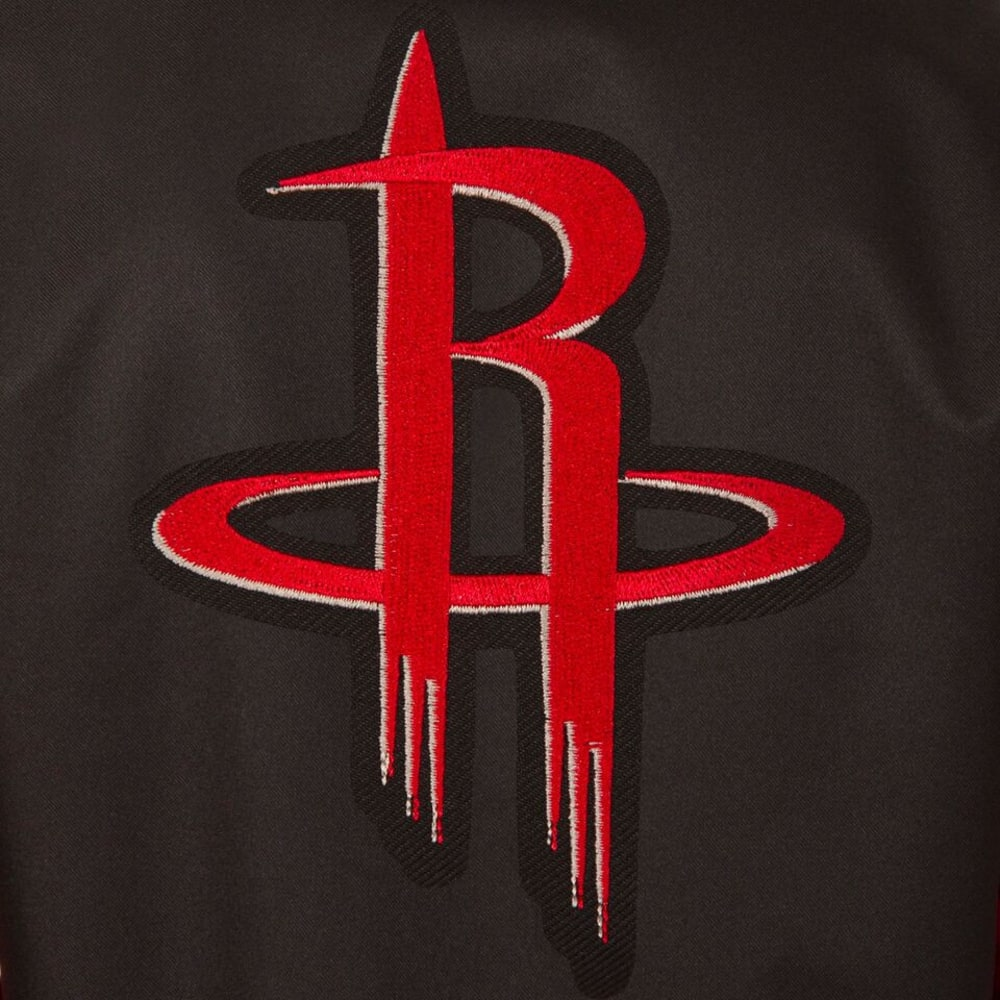 HOUSTON ROCKETS Men's Poly Twill Embroidered Jacket - BLACK-RED