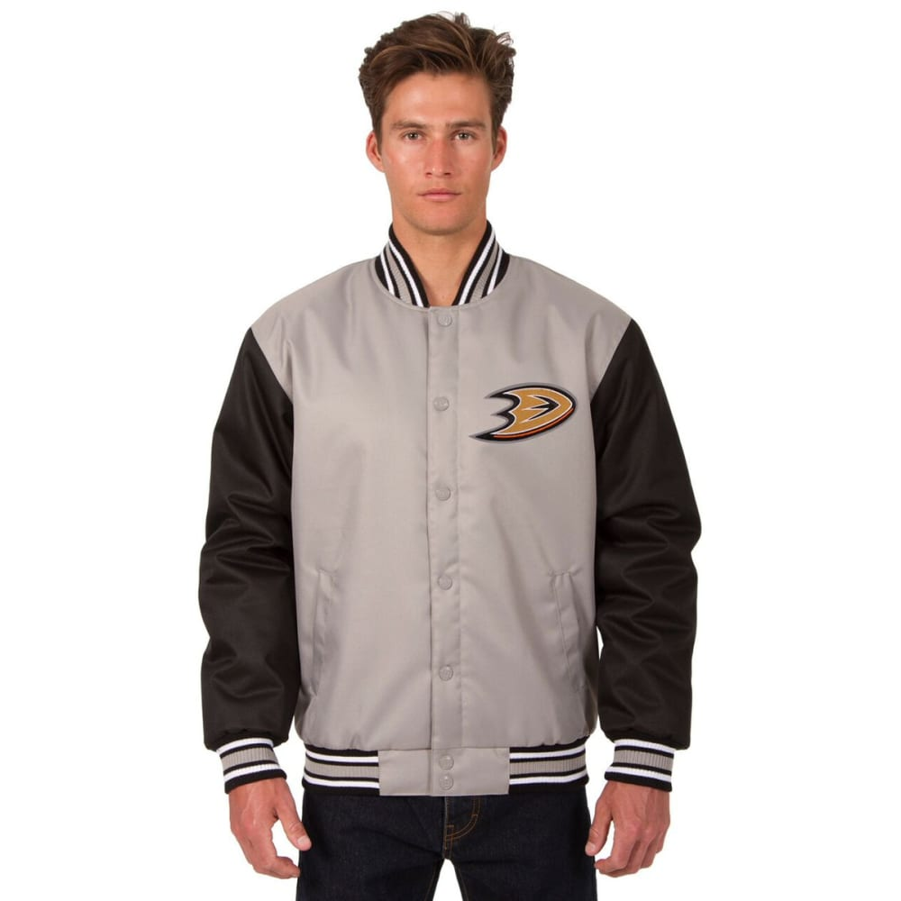 ANAHEIM DUCKS Men's Poly Twill Embroidered Jacket - GRAY-BLACK