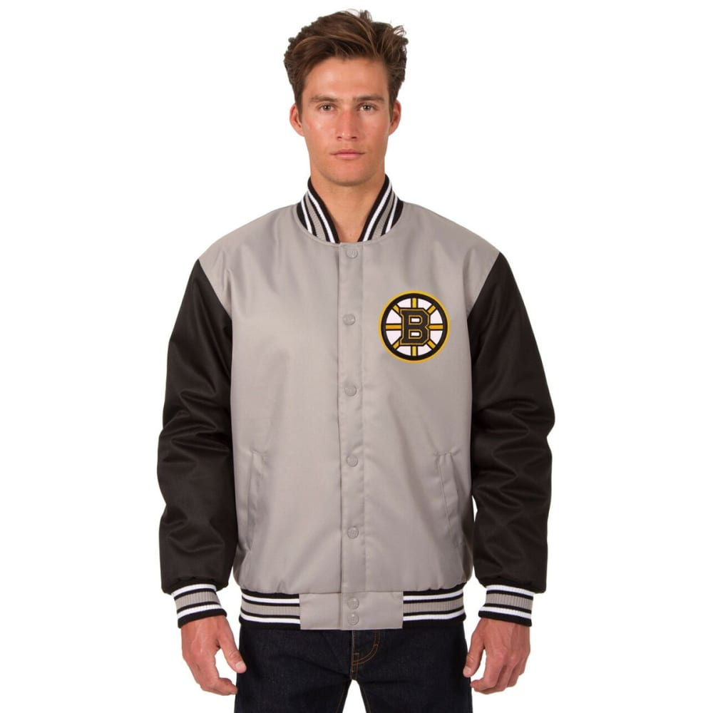 BOSTON BRUINS Men's Poly Twill Embroidered Jacket - GRAY-BLACK