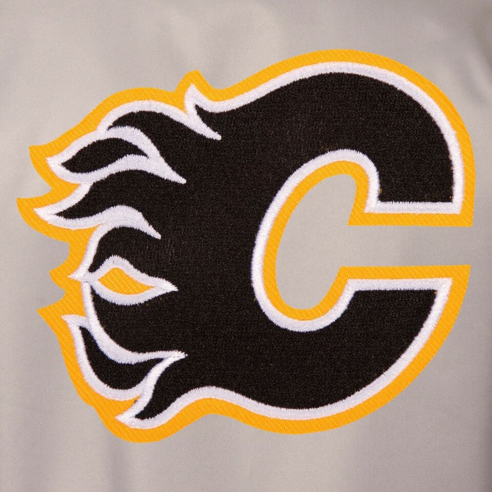 CALGARY FLAMES Men's Poly Twill Embroidered Jacket - GRAY-BLACK