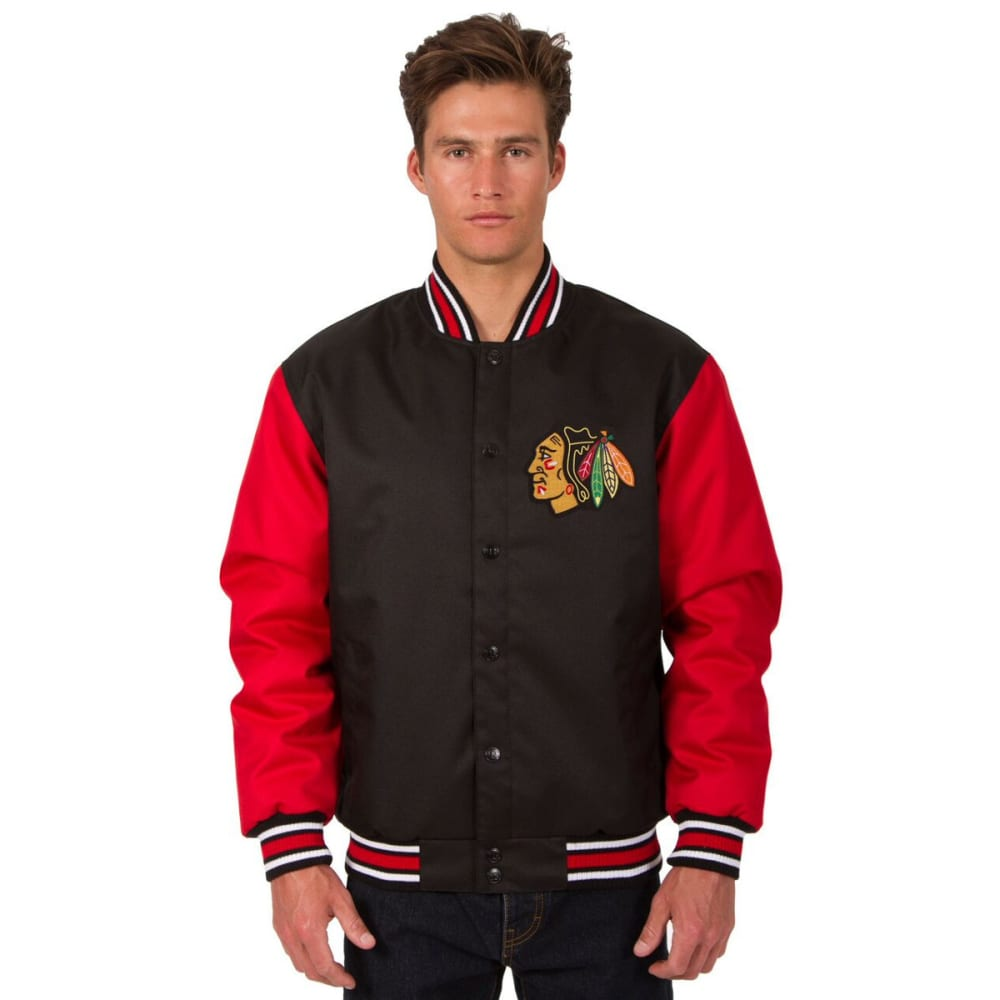 CHICAGO BLACKHAWKS Men's Poly Twill Embroidered Jacket - BLACK-RED