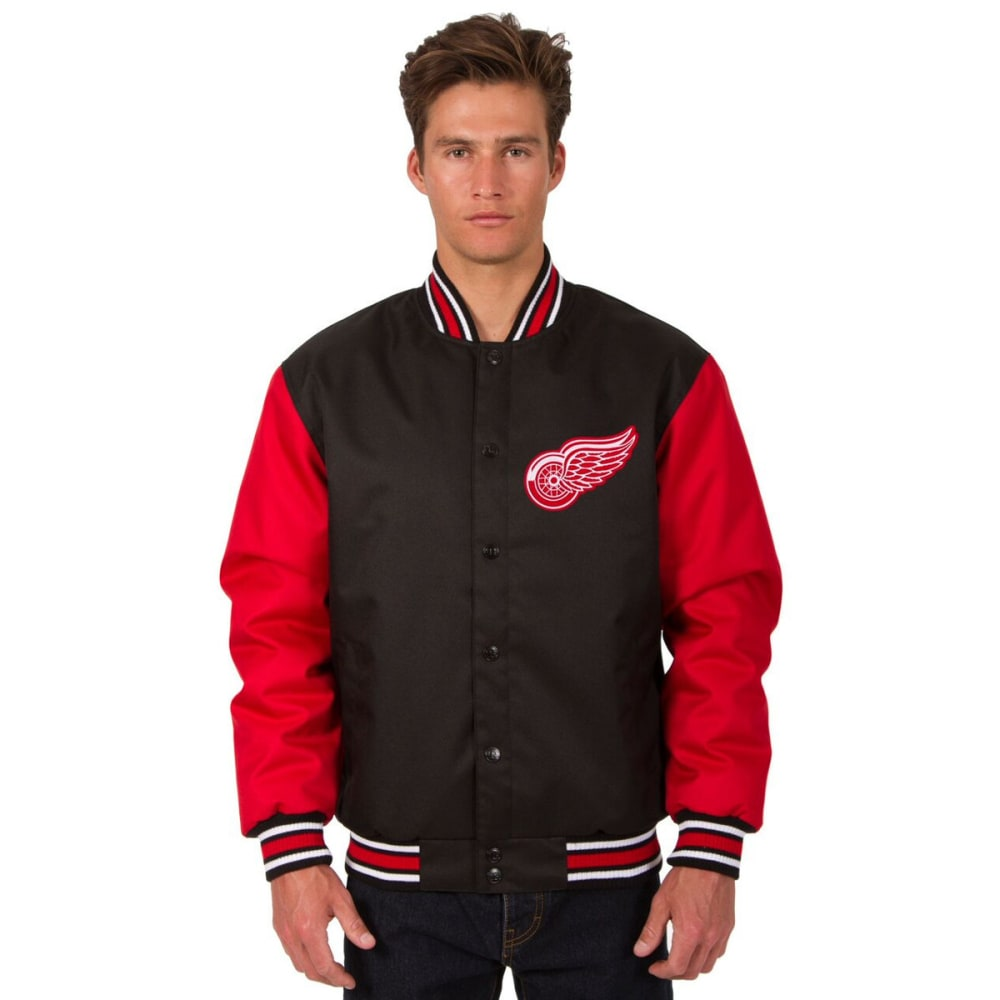 DETROIT RED WINGS Men's Poly Twill Embroidered Jacket - BLACK-RED