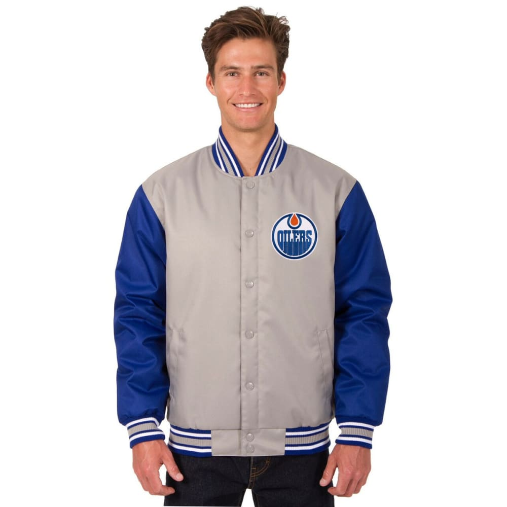 EDMONTON OILERS Men's Poly Twill Embroidered Jacket - GRAY-ROYAL