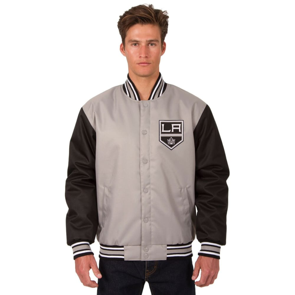 LOS ANGELES KINGS Men's Poly Twill Embroidered Jacket - GRAY-BLACK