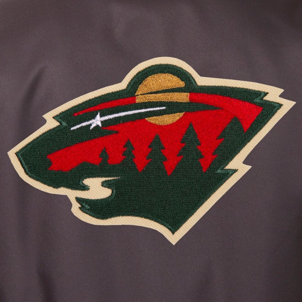 MINNESOTA WILD Men's Poly Twill Embroidered Jacket - CHARCOAL