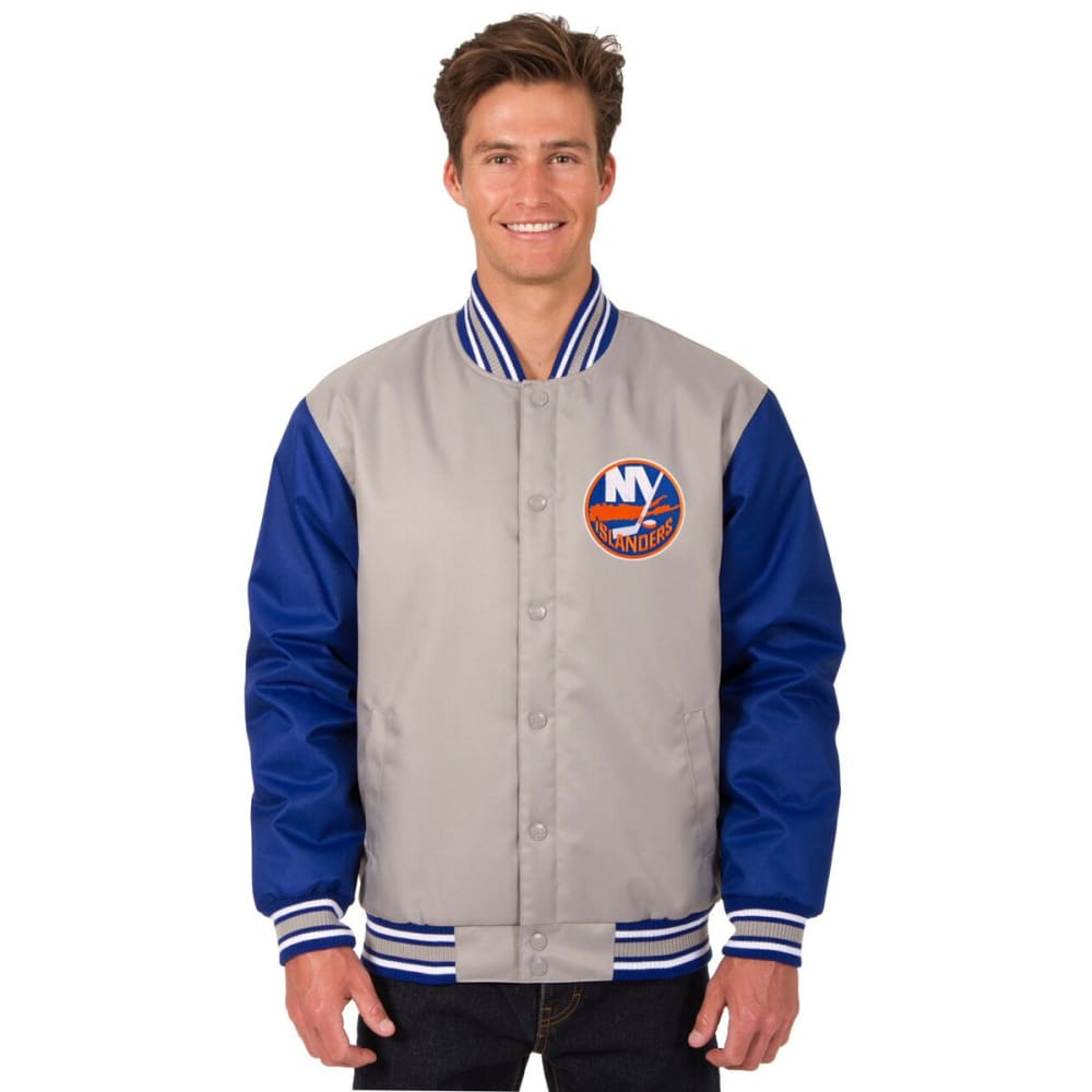 NEW YORK ISLANDERS Men's Poly Twill Embroidered Jacket - GRAY-ROYAL