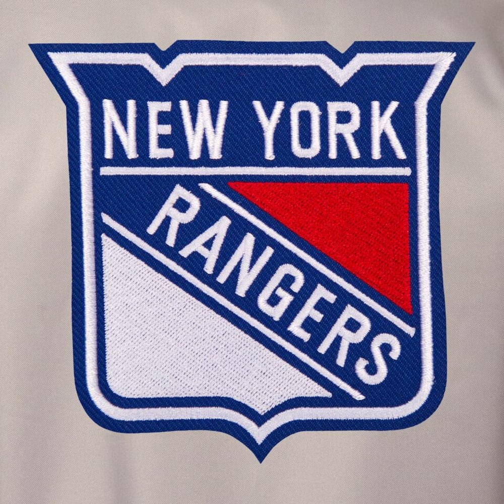 NEW YORK RANGERS Men's Poly Twill Embroidered Jacket - GRAY-ROYAL