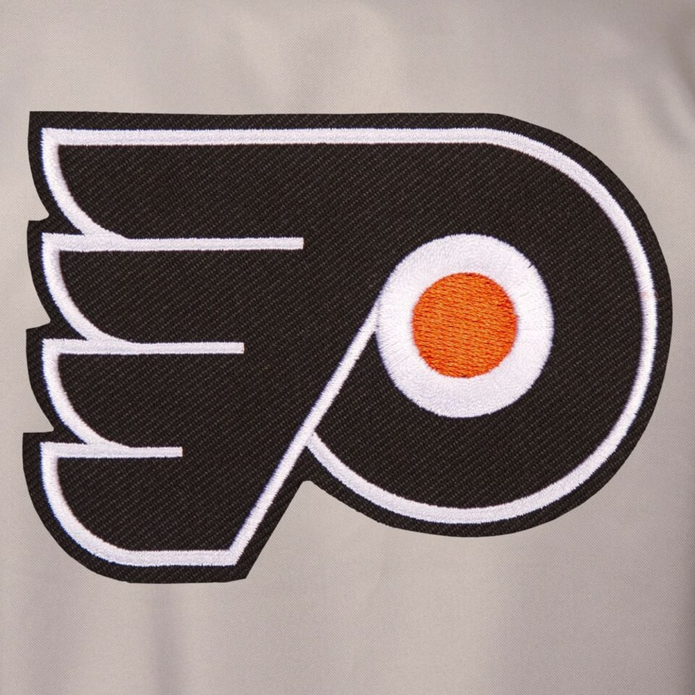 PHILADELPHIA FLYERS Men's Poly Twill Embroidered Jacket - GRAY-BLACK