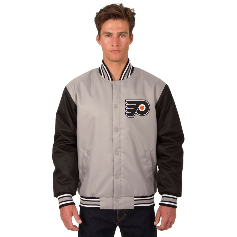 PHILADELPHIA FLYERS Men's Poly Twill Embroidered Jacket - GRAY-BLACK