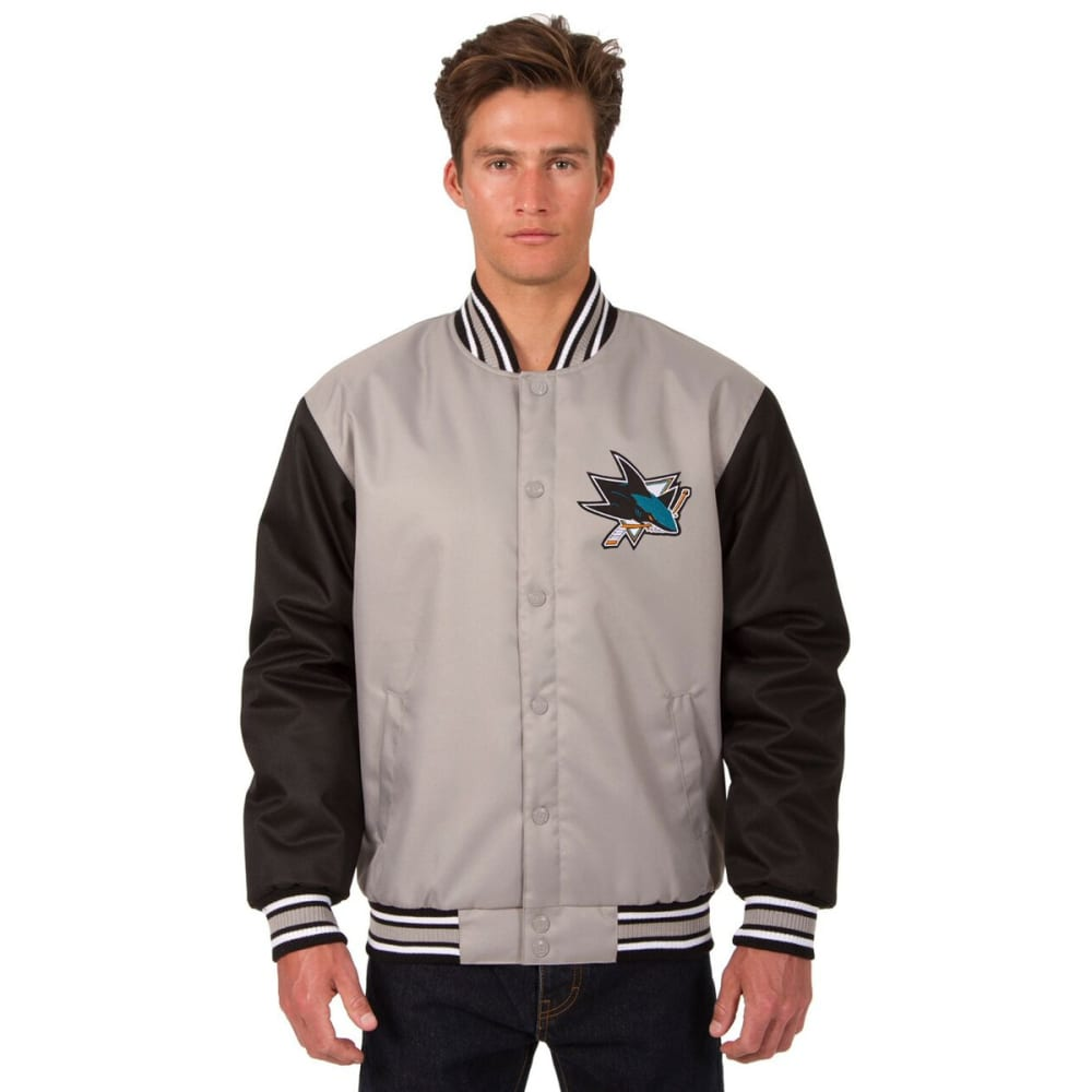 SAN JOSE SHARKS Men's Poly Twill Embroidered Jacket - GRAY-BLACK