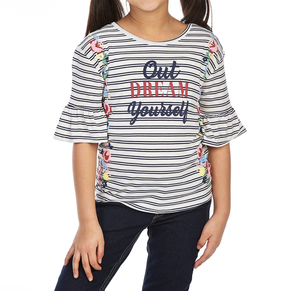 RANSOM GIRL Big Girls' Ruffle Striped Sleeve Tee - 0002-NAVY/IVORY