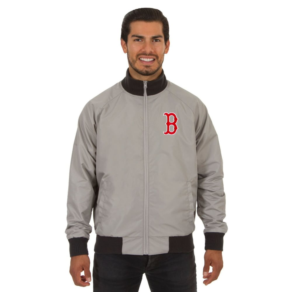 BOSTON RED SOX Men's Reversible Embroidered Track Jacket - SLATE GRAY