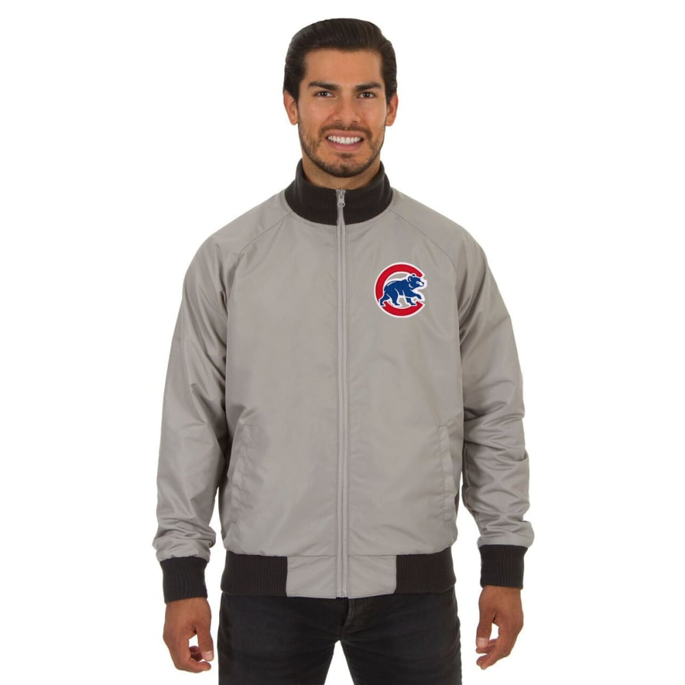 CHICAGO CUBS Men's Reversible Embroidered Track Jacket - SLATE GRAY