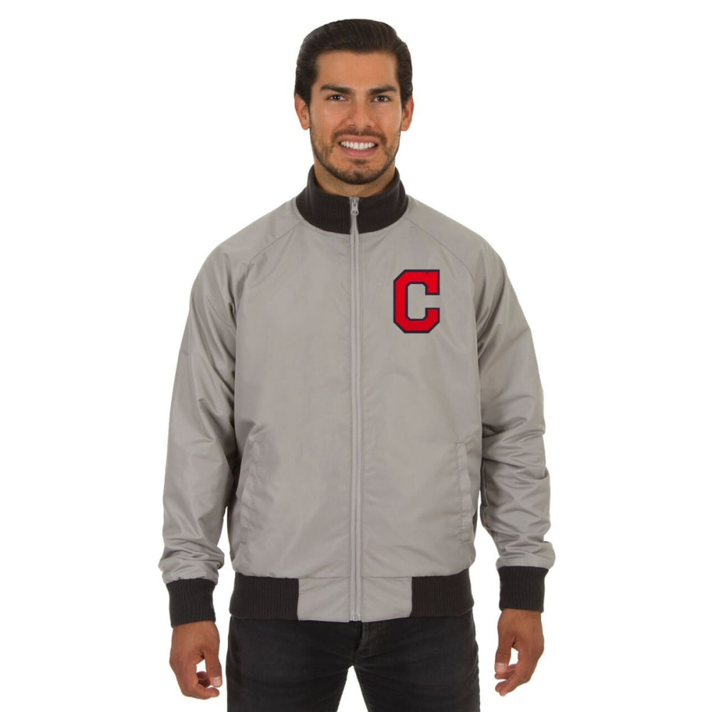 CLEVELAND INDIANS Men's Reversible Embroidered Track Jacket - SLATE GRAY