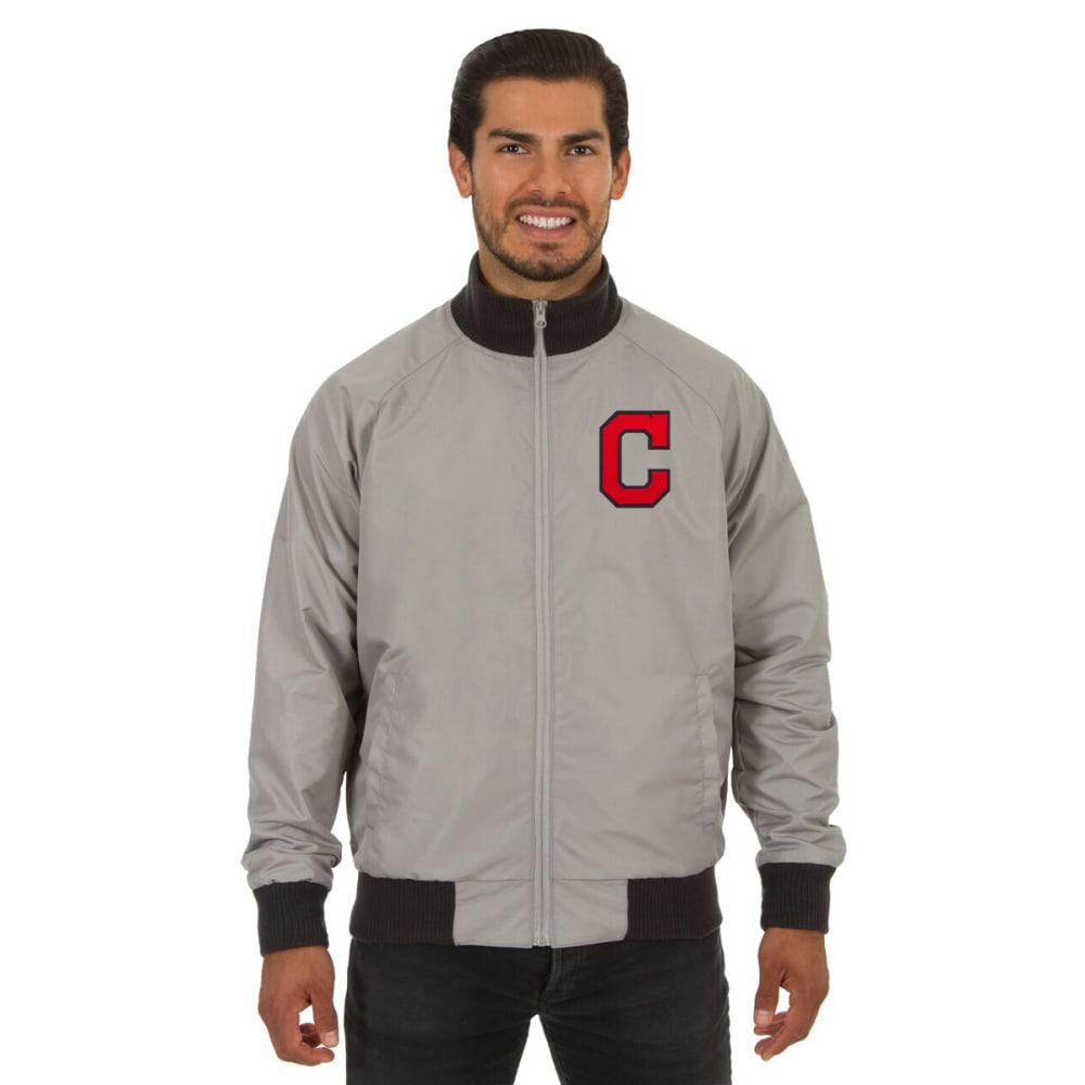 CLEVELAND INDIANS Men's Reversible Embroidered Track Jacket - SLATE GRAY