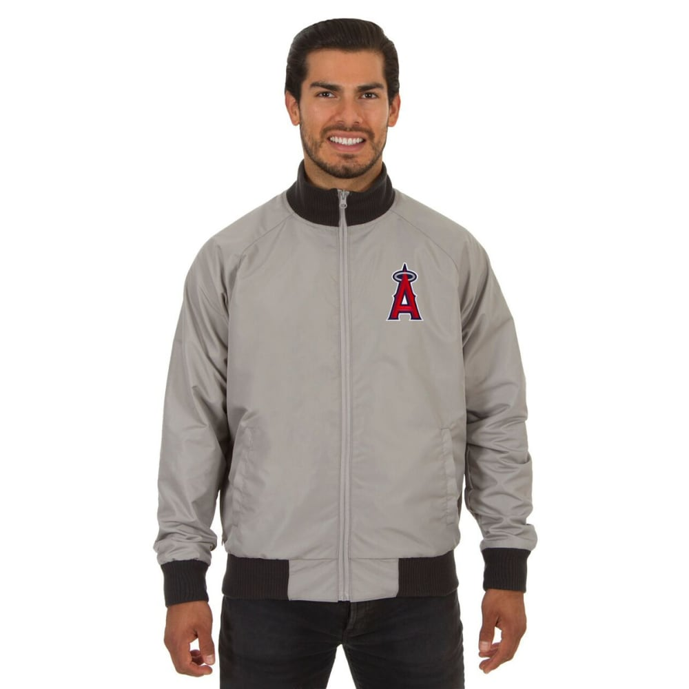 LOS ANGELES ANGELS Men's Reversible Embroidered Track Jacket - SLATE GRAY