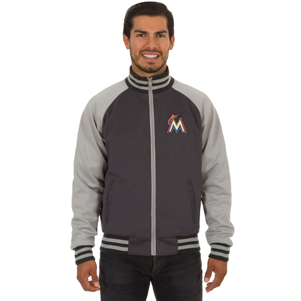 MIAMI MARLINS Men's Reversible Embroidered Track Jacket - SLATE GRAY