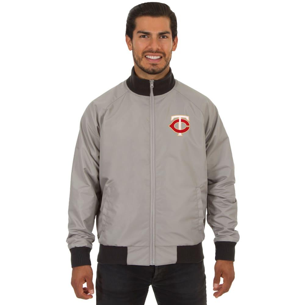 MINNESOTA TWINS Men's Reversible Embroidered Track Jacket - SLATE GRAY