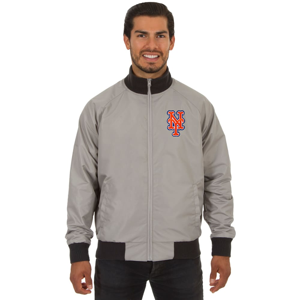 NEW YORK METS Men's Reversible Embroidered Track Jacket - SLATE GRAY