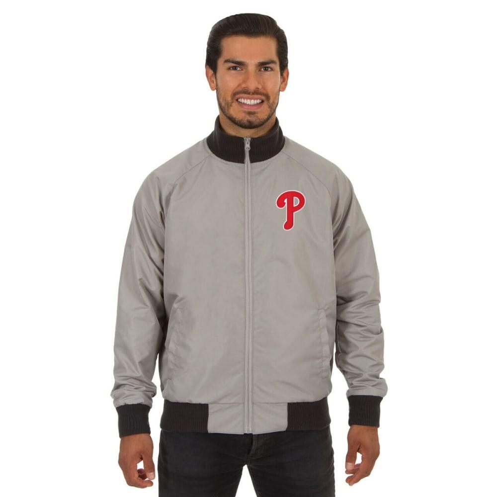 PHILADELPHIA PHILLIES Men's Reversible Embroidered Track Jacket - SLATE GRAY