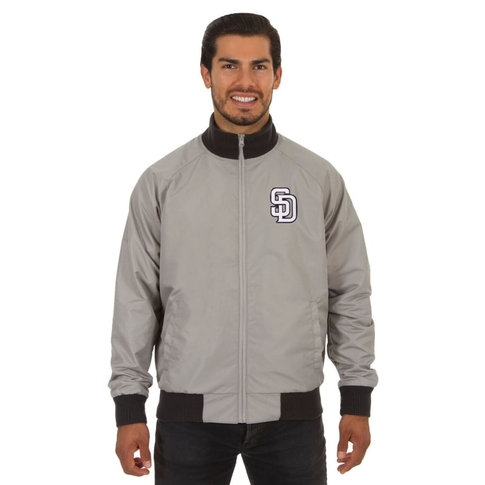SAN DIEGO PADRES Men's Reversible Embroidered Track Jacket - SLATE GRAY