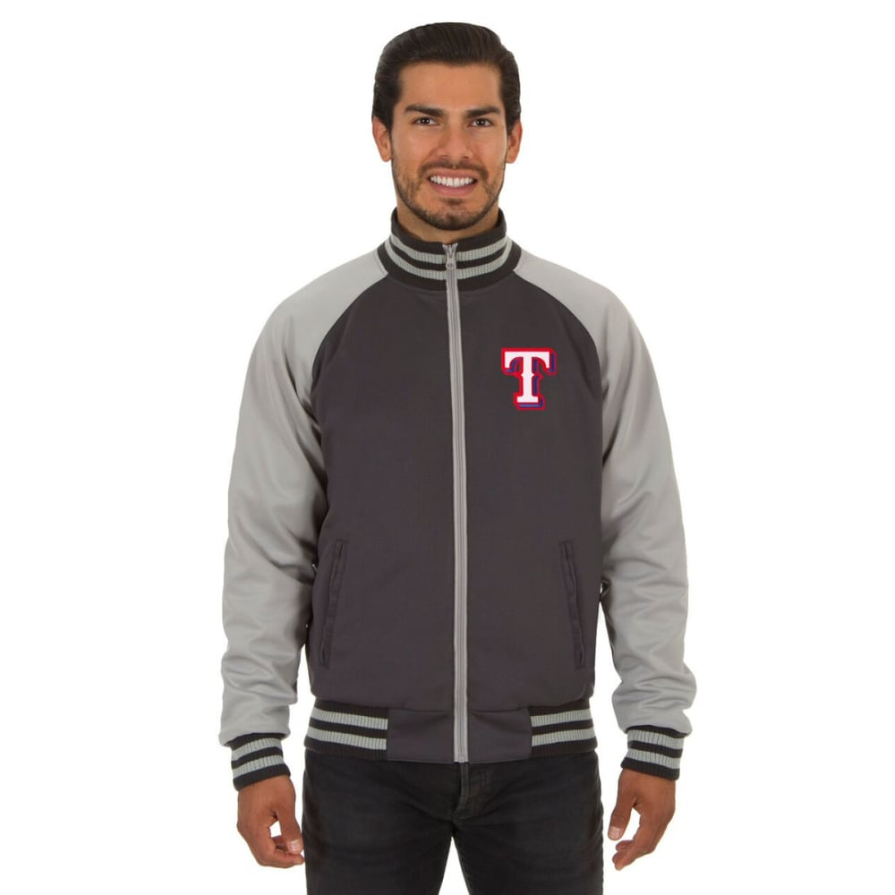 TEXAS RANGERS Men's Reversible Embroidered Track Jacket - SLATE GRAY