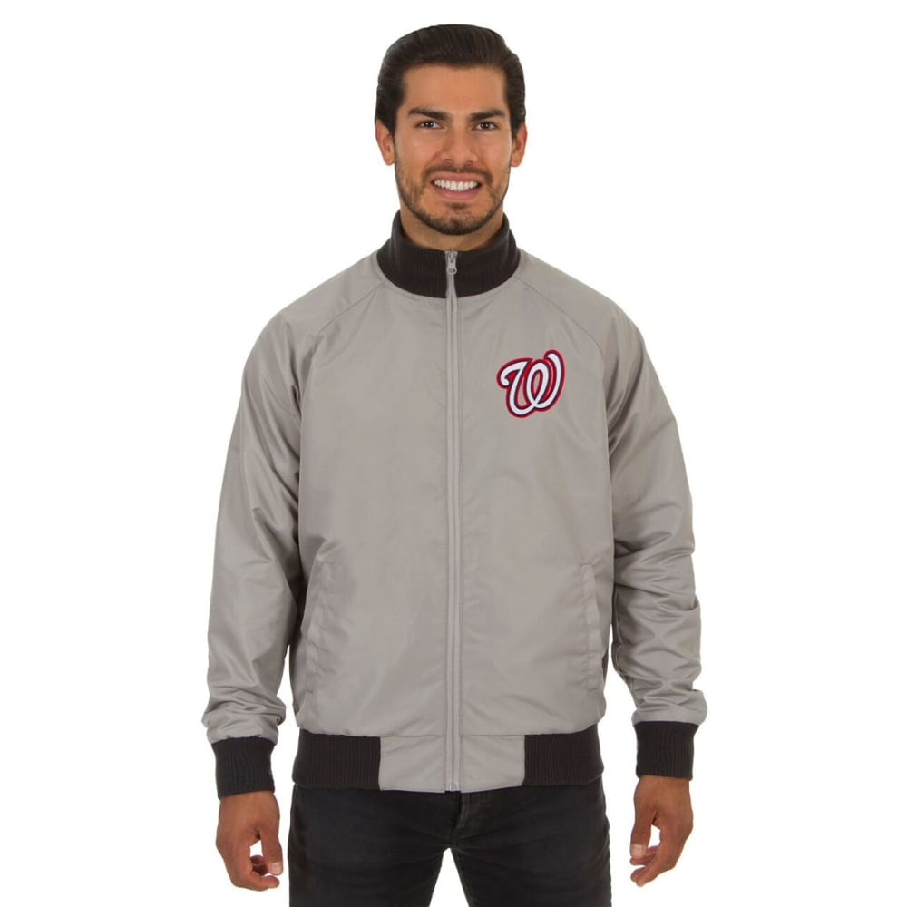 WASHINGTON NATIONALS Men's Reversible Embroidered Track Jacket - SLATE GRAY