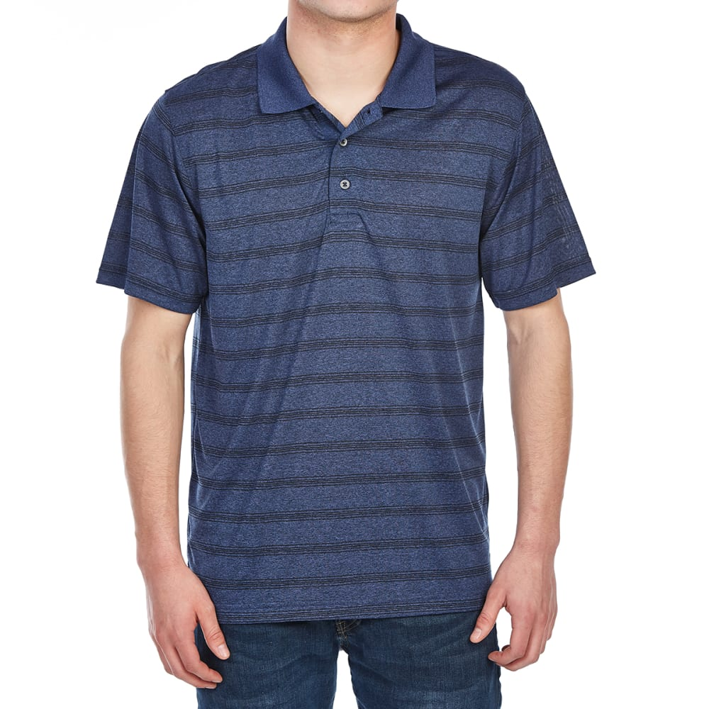 BCC Men's Performance Marled Stripe Short-Sleeve Polo Shirt - DRESS BLUE MARLED