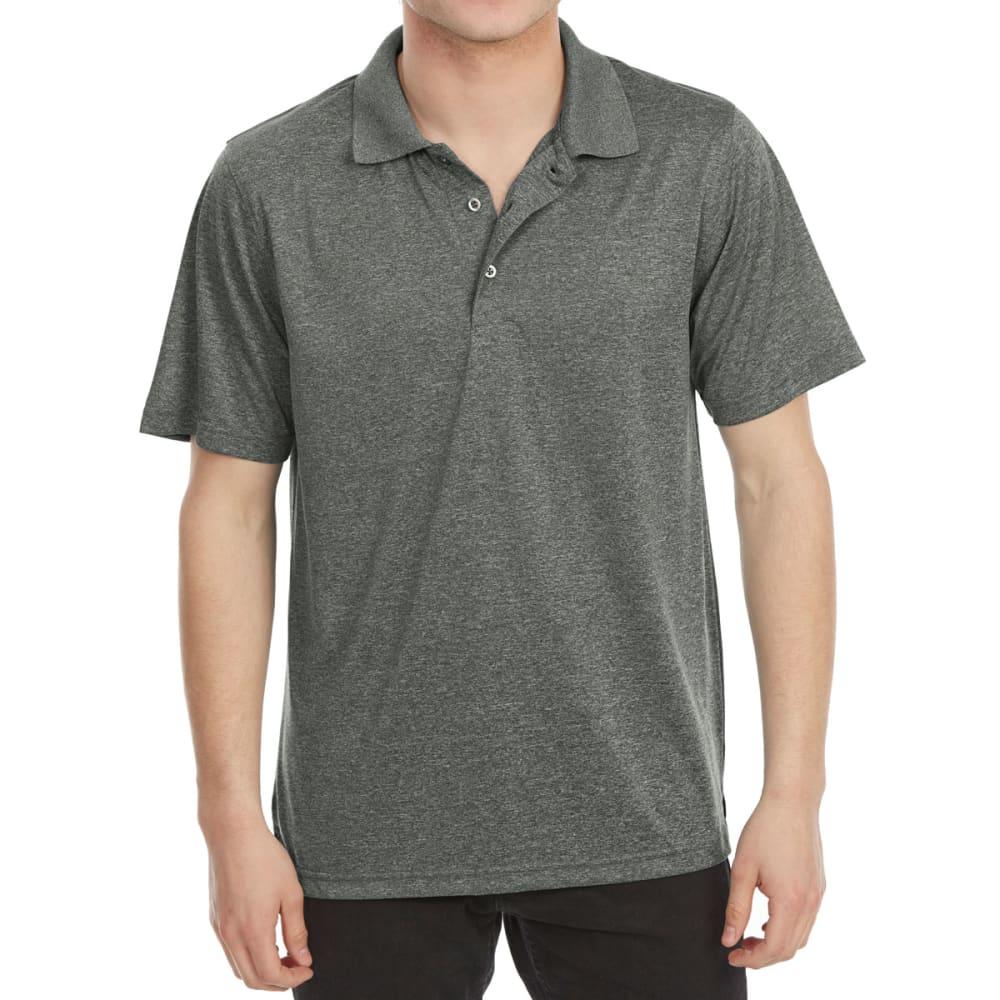 Bcc Men's Performance Marled Short-Sleeve Polo Shirt - Black, M