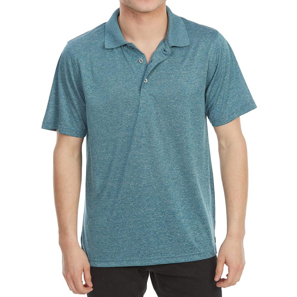 Bcc Men's Performance Marled Short-Sleeve Polo Shirt - Blue, XL