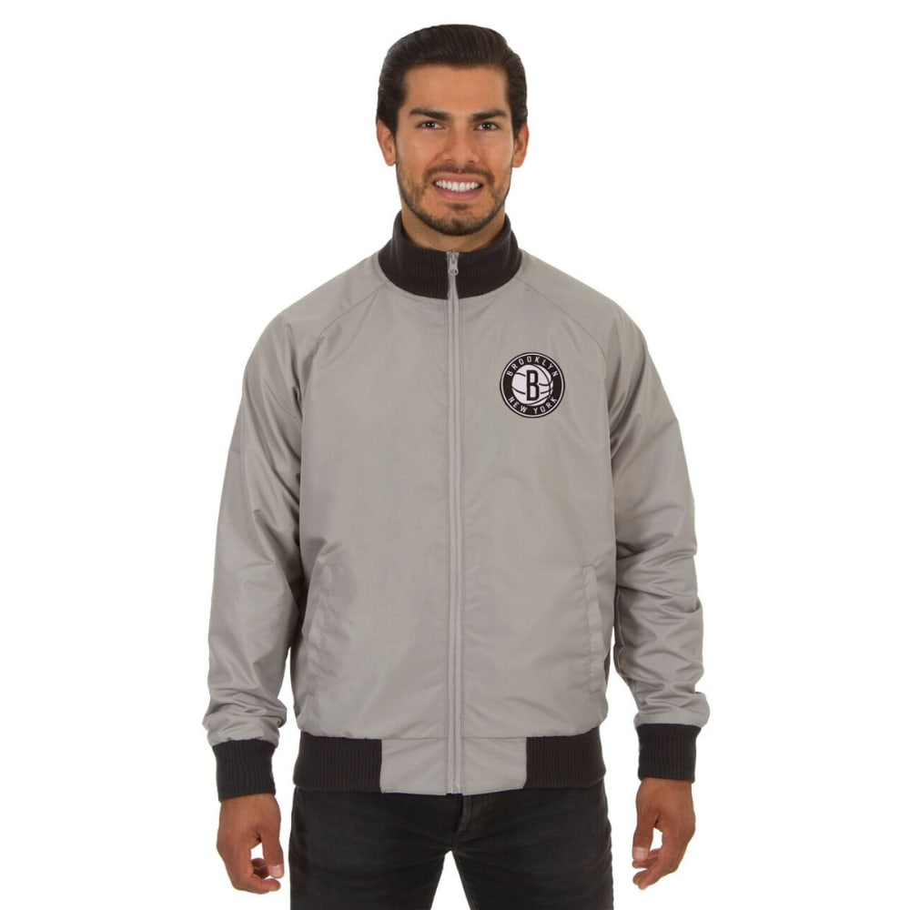 NEW YORK NETS Men's Reversible Embroidered Track Jacket - SLATE GRAY