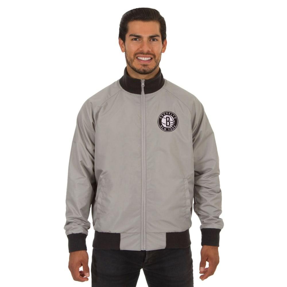 NEW YORK NETS Men's Reversible Embroidered Track Jacket - SLATE GRAY