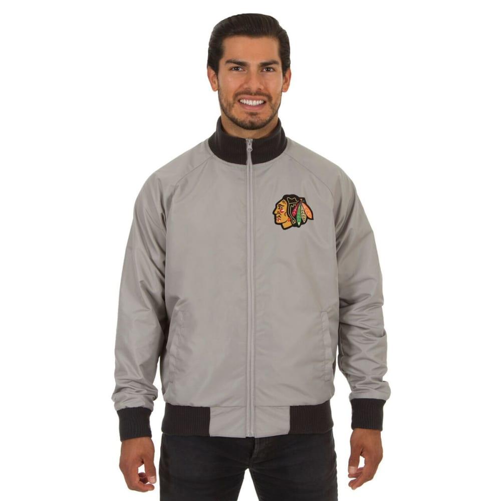 CHICAGO BLACKHAWKS Men's Reversible Embroidered Track Jacket - SLATE GRAY