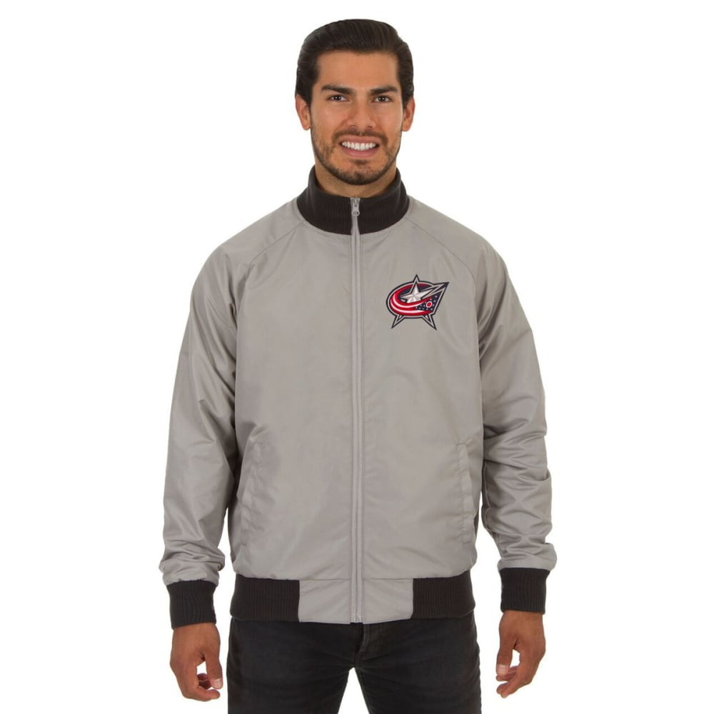 COLUMBUS BLUE JACKETS Men's Reversible Embroidered Track Jacket - SLATE GRAY
